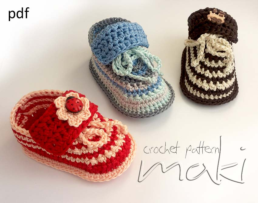 Crochet Baby Dress Set Pattern : Crochet Pattern Step-by-step. Super Cute Baby Sneakers ...