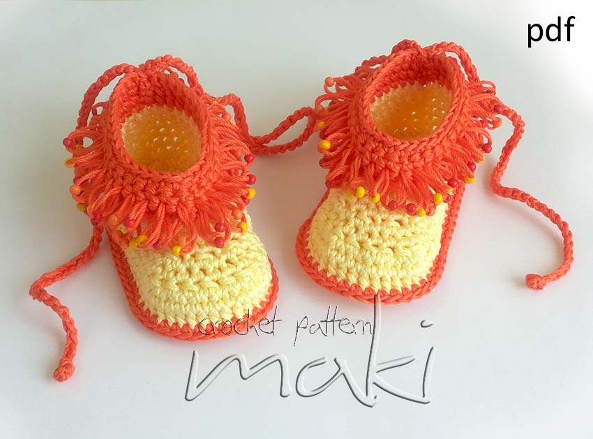 Crochet pattern loop stitch with beads - Crochet baby booties. Full of ...