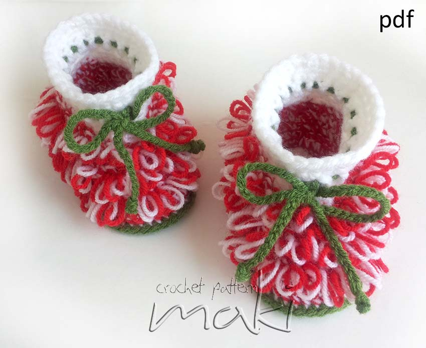 Crochet Baby Santa Booties Pattern : Crochet Pattern - Christmas Booties - Little Santa Helper ...