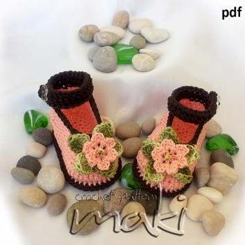 Crochet pattern - No sewing - Crochet baby booties pattern. Full of large pictures! Permission to sell finished items. Pattern No. 101