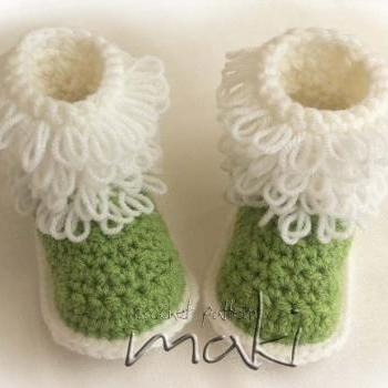 Fluffy baby boots Step-by-step crochet pattern - Loop stitch - No sewing - PDF! Full of large pictures! Pattern No. 107