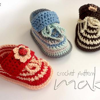 Crochet pattern step-by-step. Super cute baby sneakers! For boys and girls! - Permission to sell finished items! Pattern No. 109